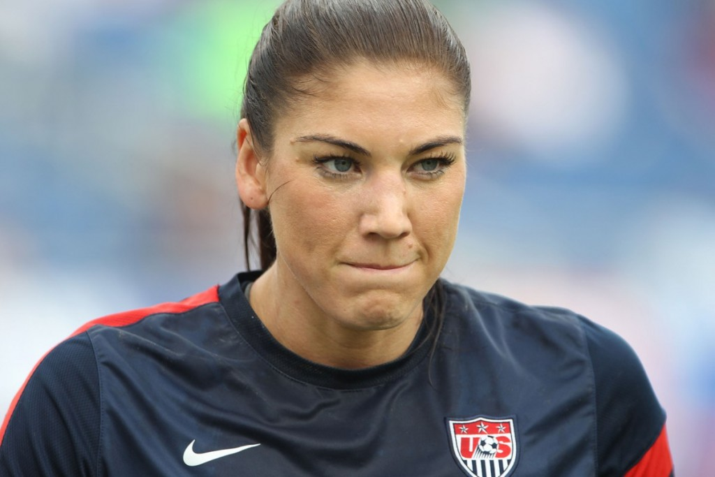 BOCA RATON, FL - FEBRUARY 08:  Hope Solo #1 of the United States warms up prior to playing  against Russia at FAU Stadium on February 8, 2014 in Boca Raton, Florida.  (Photo by Marc Serota/Getty Images)